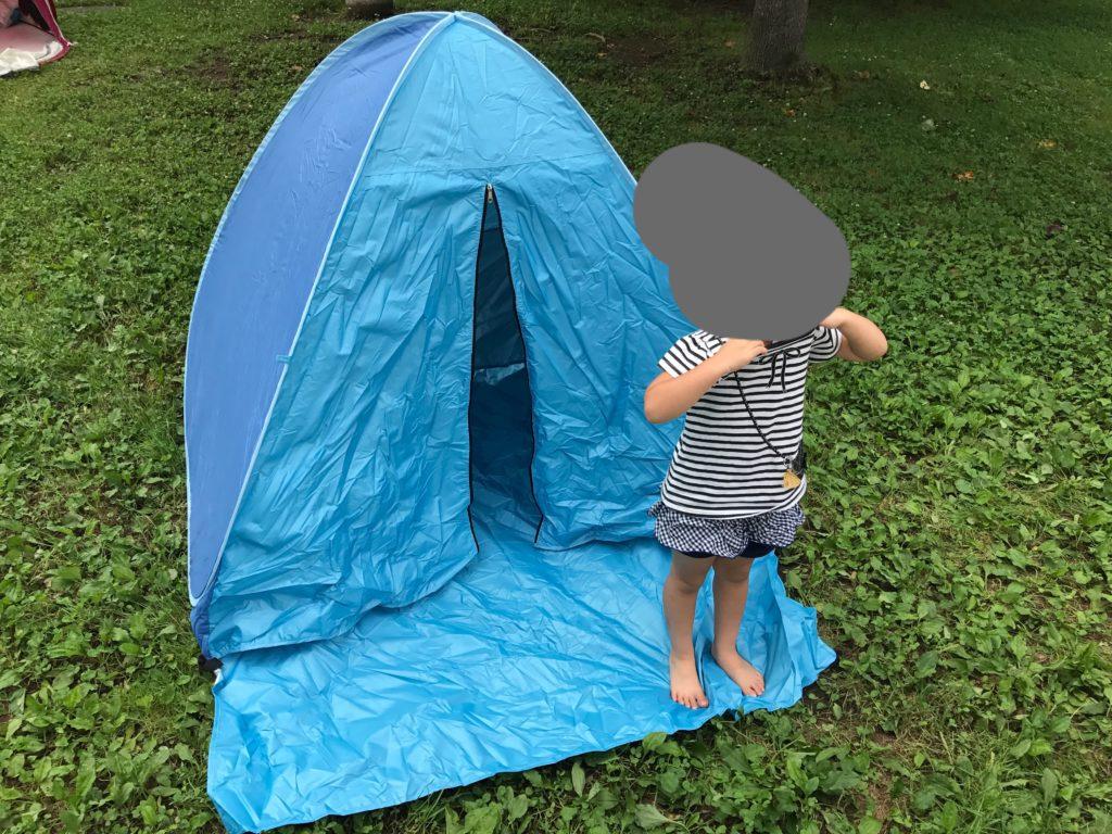 テントを広げた様子